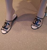 CHANEL Flower Patterns Open Toe Street Style PVC Clothing Sandals