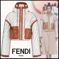 FENDI Short Monogram Leather Elegant Style Jackets