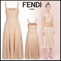 FENDI Wool Sleeveless Plain Medium Elegant Style Dresses