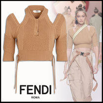 FENDI Short Rib Plain Cotton Short Sleeves Elegant Style Cropped