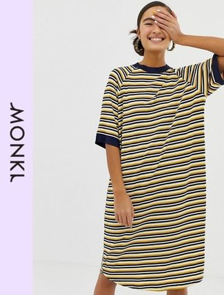 Stripes Casual Style Medium Dresses