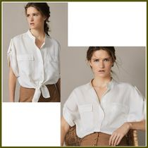 Massimo Dutti Casual Style Linen Medium Short Sleeves Shirts & Blouses