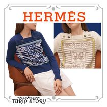 HERMES Stripes Cashmere Long Sleeves Cashmere