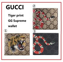 GUCCI Unisex Canvas Other Animal Patterns Folding Wallets