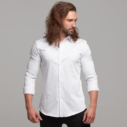 Father & Sons Shirts Button-down Street Style Long Sleeves Plain Cotton Logo 3