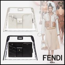 FENDI PEEKABOO Blended Fabrics Plain Leather Crystal Clear Bags
