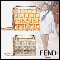 FENDI Monogram Calfskin 3WAY Chain Elegant Style Shoulder Bags