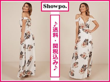 Flower Patterns Casual Style Maxi Sleeveless V-Neck Long
