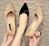 Suede Office Style Chunky Heels Pointed Toe Pumps & Mules