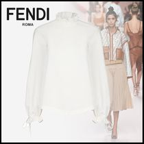 FENDI Long Sleeves Plain Cotton Medium Elegant Style