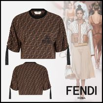 FENDI Crew Neck Short Monogram Cotton Short Sleeves Cropped