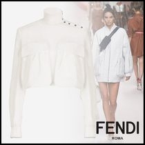 FENDI Short Long Sleeves Plain Cotton Elegant Style Cropped