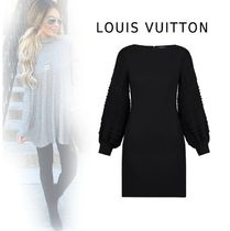 Louis Vuitton 2019-20AW LONGSLEEVE BY FABRIC DRESS black 34-40 Dresses