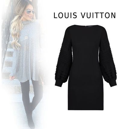Louis Vuitton Dresses 2019-20AW LONGSLEEVE BY FABRIC DRESS black 34-40 Dresses