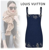 Louis Vuitton 2019-20AW EMBROIDERY STRAP KNIT DRESS navy XS-LO Dresses