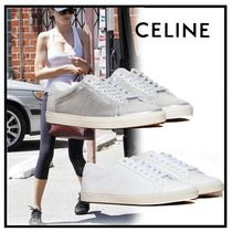 CELINE Triomphe Plain Toe Casual Style Plain Leather Low-Top Sneakers