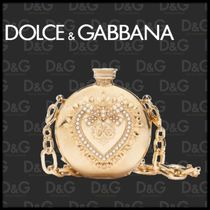 Dolce & Gabbana Heart 2WAY Chain With Jewels Elegant Style Shoulder Bags