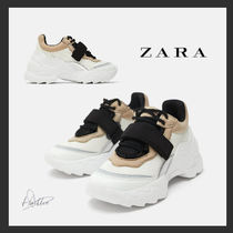 ZARA Platform Plain Toe Lace-up Casual Style Plain