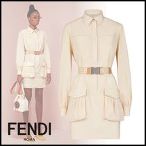 FENDI Short Tight Long Sleeves Plain Cotton Elegant Style Dresses