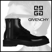 GIVENCHY Plain Toe Street Style Plain Leather Engineer Boots
