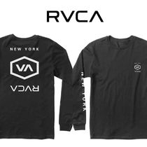RVCA Pullovers Unisex Street Style Long Sleeves Plain Cotton