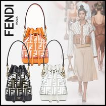 FENDI MON TRESOR Monogram Blended Fabrics 2WAY Leather Elegant Style Handbags