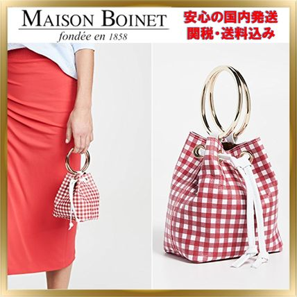 Gingham 2WAY Leather Purses Elegant Style Shoulder Bags