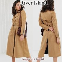 River Island Casual Style Suede Plain Medium Trench Coats