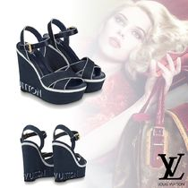Louis Vuitton Open Toe Plain Elegant Style Platform & Wedge Sandals
