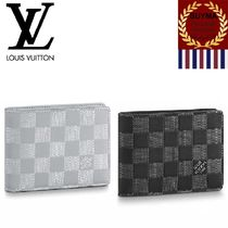 Louis Vuitton DAMIER INFINI Other Check Patterns Unisex Plain Leather Folding Wallets