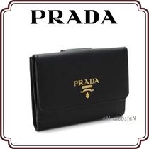 PRADA SAFFIANO LUX Unisex Plain Leather Folding Wallets