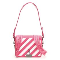 Off-White Stripes 2WAY Leather Elegant Style Shoulder Bags