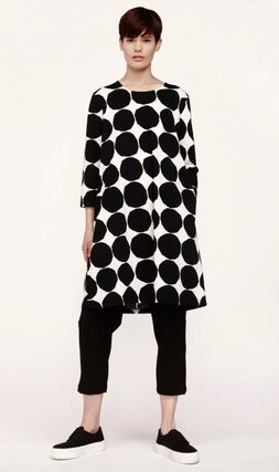 Crew Neck Dots A-line Cropped Cotton Dresses