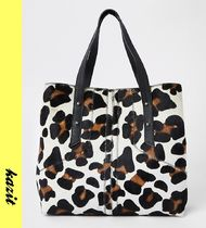 River Island Leopard Patterns Casual Style Leather Totes