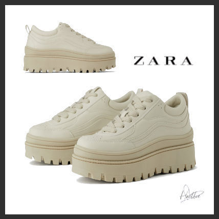 Platform Plain Toe Lace-up Casual Style Plain