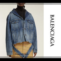 BALENCIAGA Denim Street Style Medium Denim Jackets Oversized Jackets