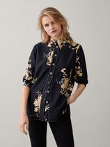 Massimo Dutti Flower Patterns Casual Style Long Sleeves Shirts & Blouses