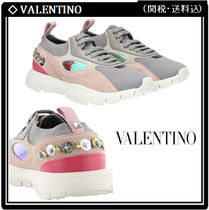 VALENTINO Round Toe Rubber Sole Casual Style Studded Leather