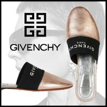 GIVENCHY Open Toe Rubber Sole Casual Style Street Style Plain Leather