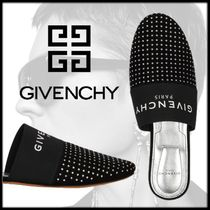 GIVENCHY Open Toe Rubber Sole Casual Style Suede Studded Street Style