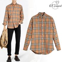 Burberry Button-down Glen Patterns Street Style Long Sleeves Cotton