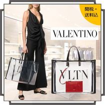 VALENTINO Casual Style Blended Fabrics Studded A4 Plain