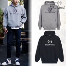 BALENCIAGA Pullovers Street Style Long Sleeves Plain Cotton Hoodies