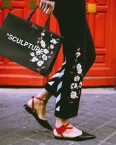 Off-White Flower Patterns Street Style Leather Elegant Style Totes