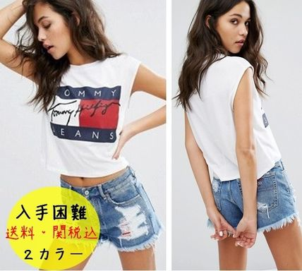 Crew Neck Short Sleeveless Street Style Cotton