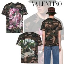 VALENTINO Crew Neck Camouflage Cotton Short Sleeves Crew Neck T-Shirts