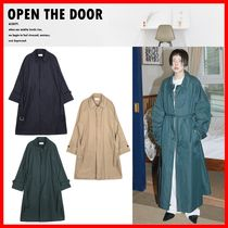 OPEN THE DOOR Casual Style Unisex Street Style Trench Coats