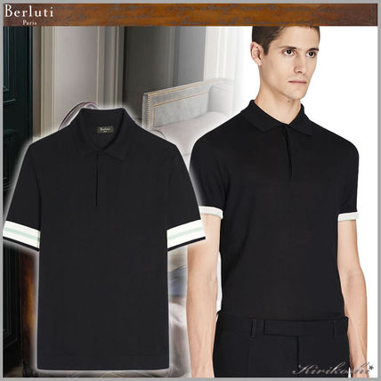 Berluti Polos Pullovers Plain Cotton Short Sleeves Logo Luxury Polos