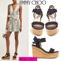 Jimmy Choo Open Toe Casual Style Suede Blended Fabrics