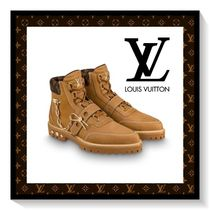 Louis Vuitton Monogram Plain Toe Suede Blended Fabrics Chain Plain Boots